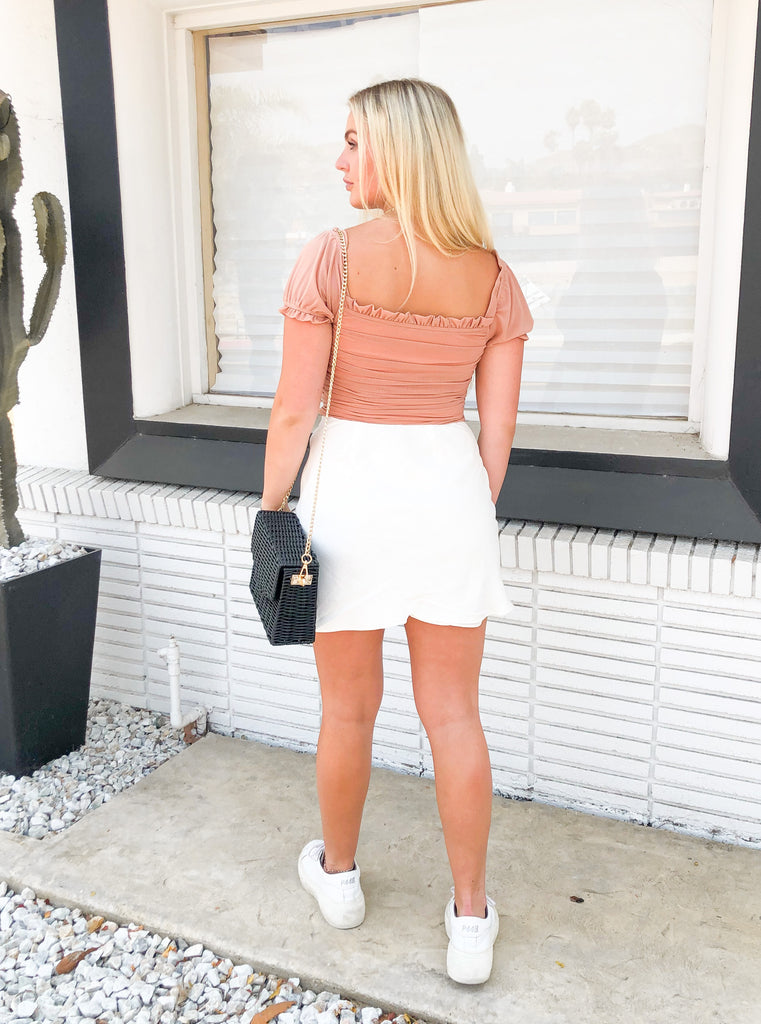 Payton Ruche Top in Sandy Blush