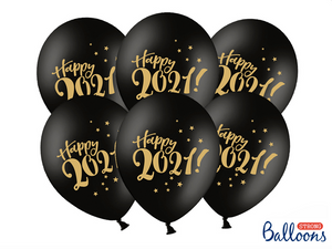 Globos Happy 2021 - Negro 6 uds
