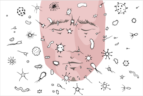 Animated image of a face with pathogen, germs, bacteria, and viruses attacking their face through air contagion