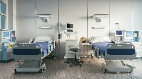 Hospital room with surfaces that can be contagious with germs, pathogen, viruses