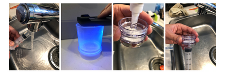 stages of a water purification experiment using V-go UV light technology