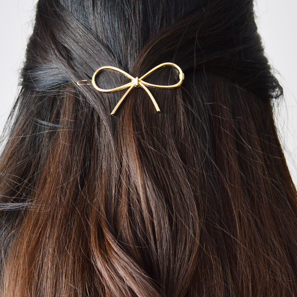 golden bow hair barrette