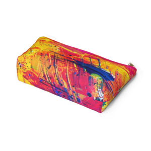 Makeup Bag Yellow, Red, and Blue Abstract Painting Large Bottom