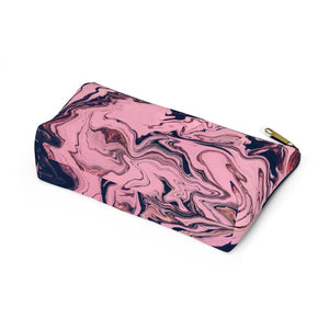 Makeup Bag Pink and Black Marble Small Bottom