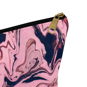 Makeup Bag Pink and Black Marble Small Close Up