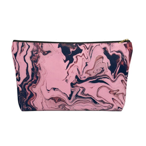 Makeup Bag Pink and Black Marble Large Front