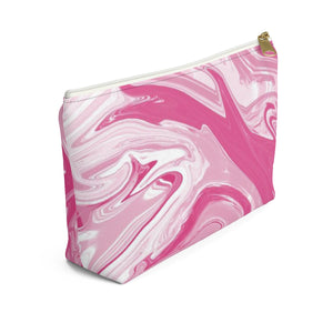 Makeup Bag Pink Marble Small Left Side