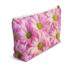 Makeup Bag Pink Daisies Large Left Side