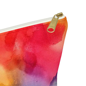 Makeup Bag Rainbow Watercolor Small Close Up