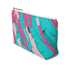 Makeup Bag Teal, Pink, and Hot Pink Small Right Side