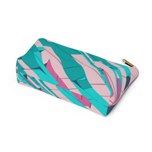Makeup Bag Teal, Pink, and Hot Pink Small Bottom