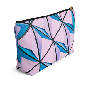 Makeup Bag Blue and Pink Triangles Abstract Art Large Left Side