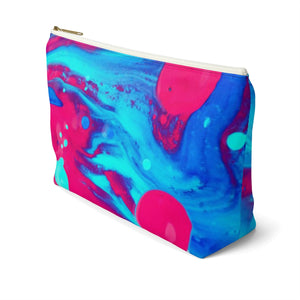 Makeup Bag Pink and Blue Abstract Painting Large Right Side