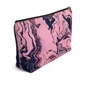 Makeup Bag Pink and Black Marble Large Left Side