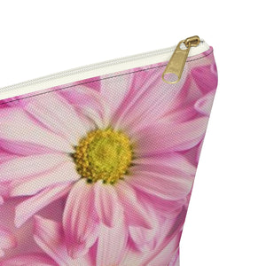 Makeup Bag Pink Daisies Large Close Up