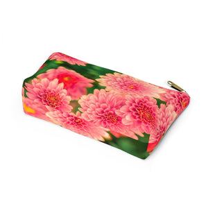 Makeup Bag Orange Flowers Small Bottom