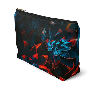 Makeup Bag Blue and Red Plants Large Right Side