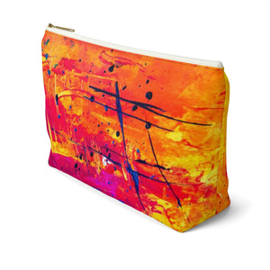 Makeup Bag Yellow, Red, and Blue Abstract Painting Large Right Side