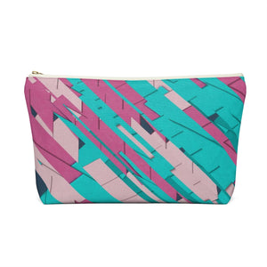 Makeup Bag Teal, Pink, and Hot Pink Large Back