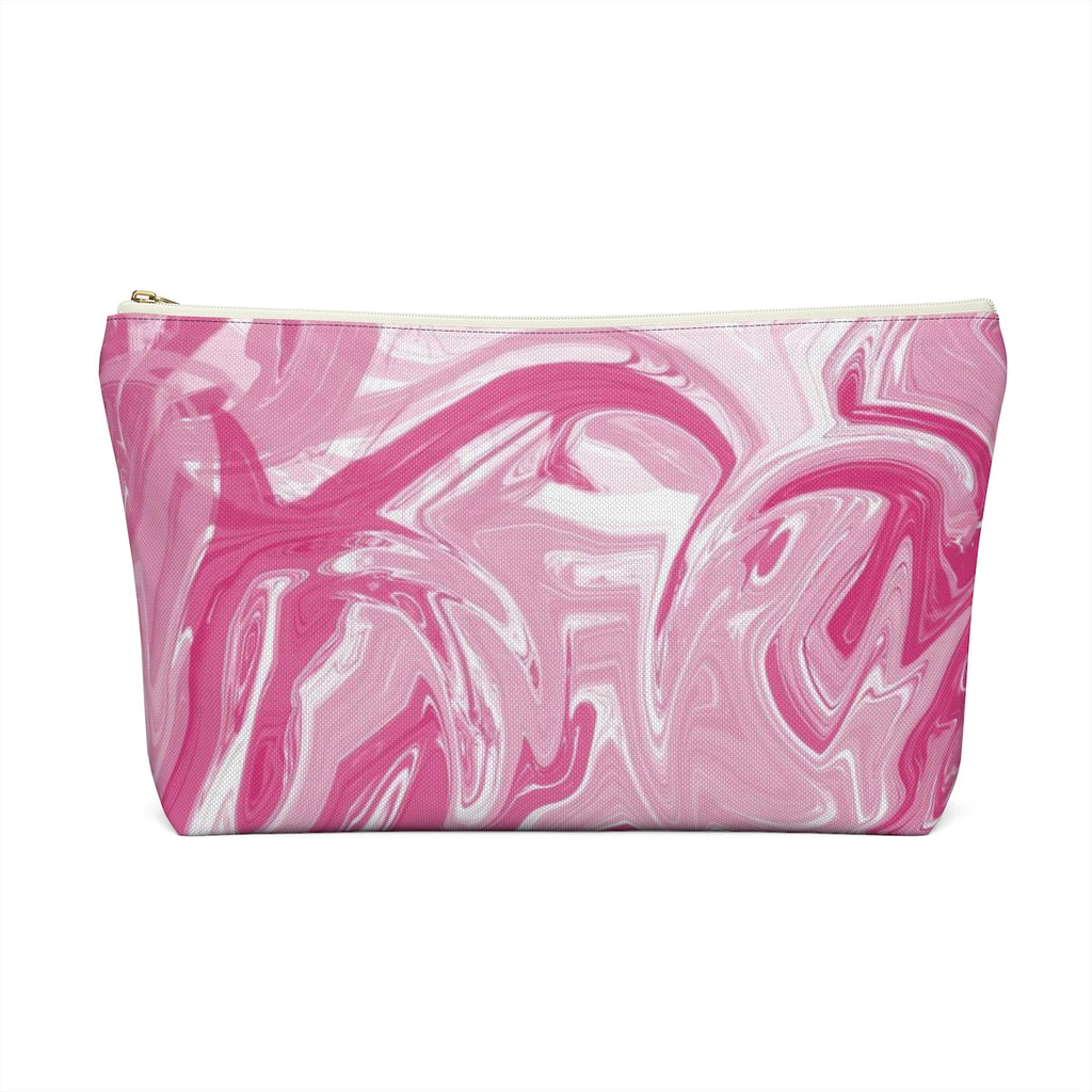 Makeup Bag Pink Marble Large Back