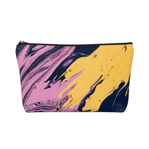 Makeup Bag Pink, Yellow, and Black Marble Small Back