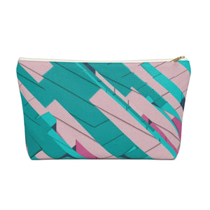 Makeup Bag Teal, Pink, and Hot Pink Large Front