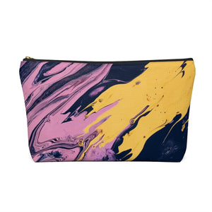 Makeup Bag Pink, Yellow, and Black Marble Large Back