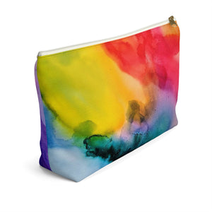 Makeup Bag Rainbow Watercolor Large Left Side