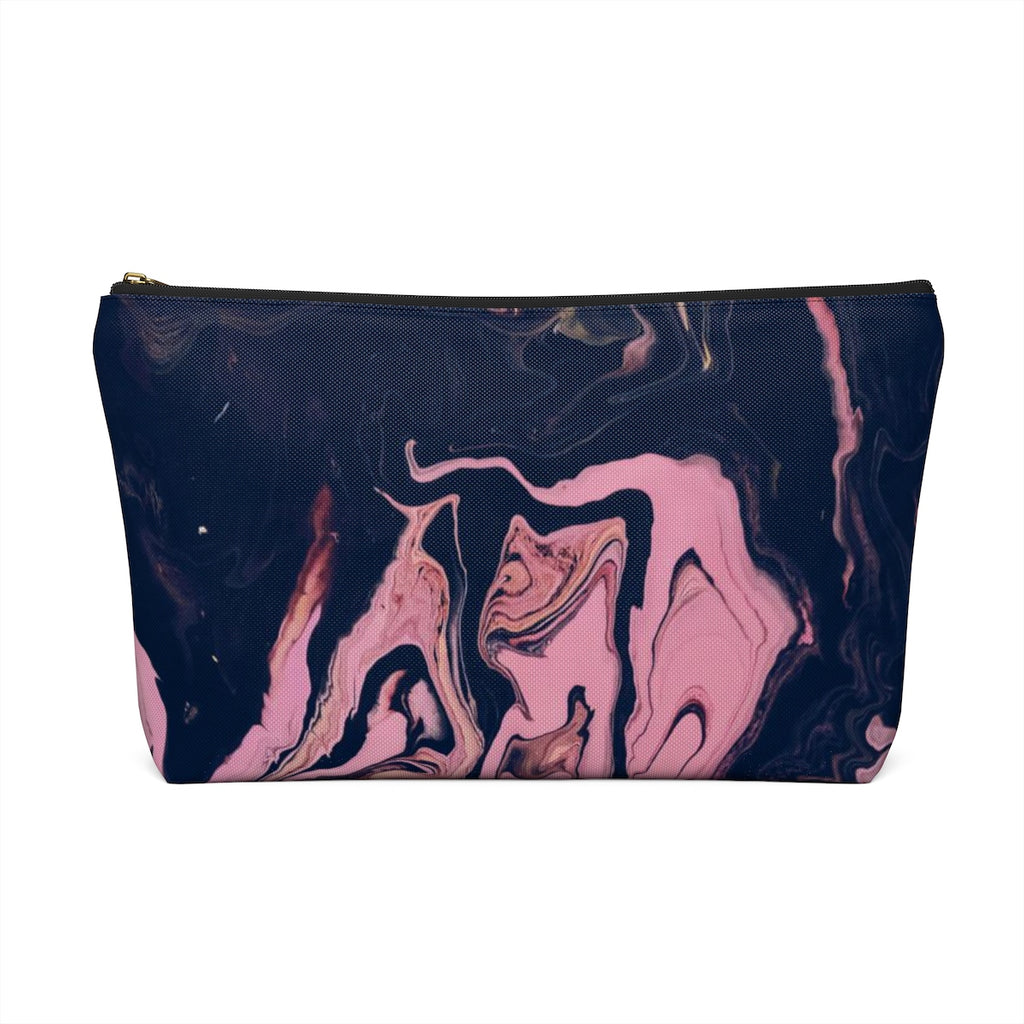 Makeup Bag Pink and Black Marble Large Back