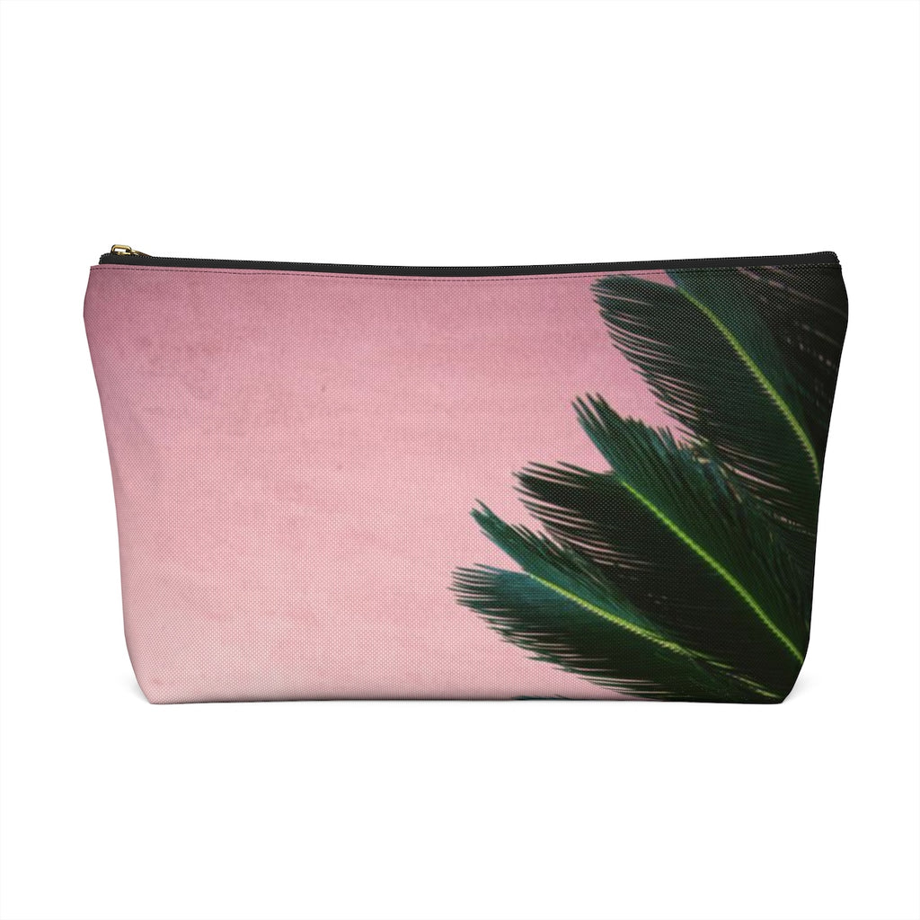 Makeup Bag Pink Palm Large Back