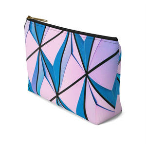 Makeup Bag Blue and Pink Triangles Abstract Art Small Right Side
