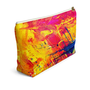 Makeup Bag Yellow, Red, and Blue Abstract Painting Large Left Side