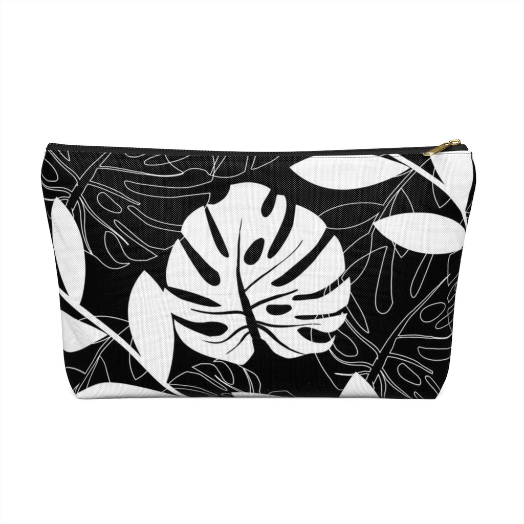 Makeup Bag Black and White Leaves Large Front