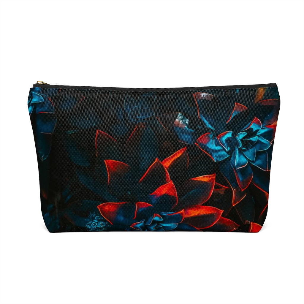 Makeup Bag Blue and Red Plants Large Back