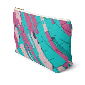 Makeup Bag Teal, Pink, and Hot Pink Large Right Side