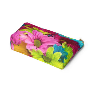 Makeup Bag Colorful Daisies Large Bottom