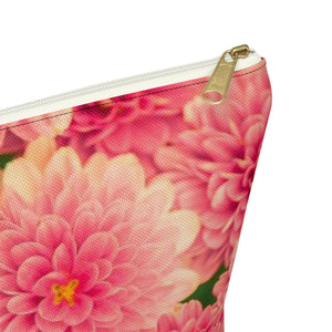 Makeup Bag Orange Flowers Large Close Up