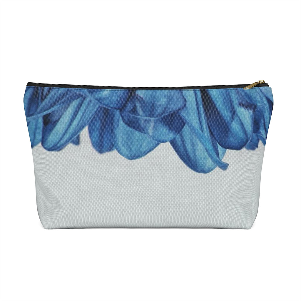 Makeup Bag Blue Flower Petals Large Front
