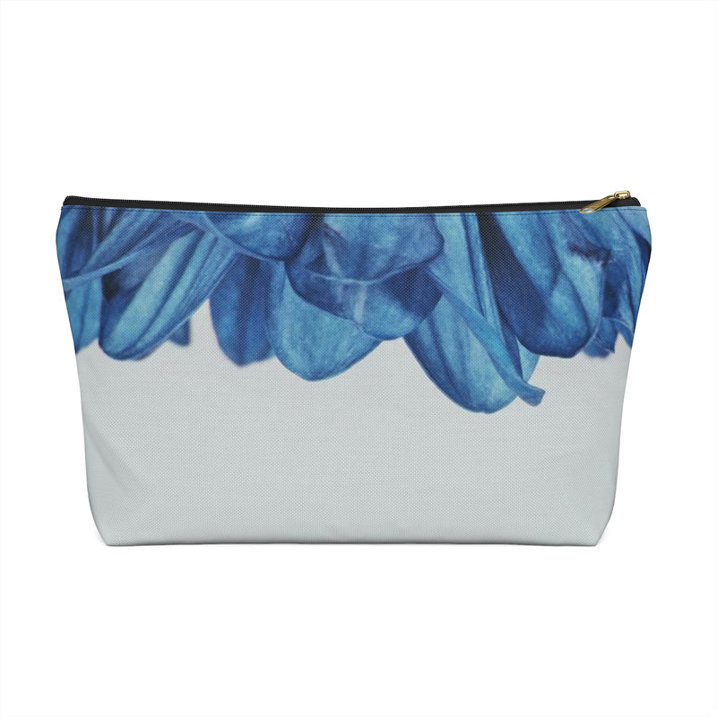 Makeup Bag Blue Flower Petals Small Right Side