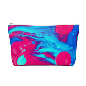 Makeup Bag Pink and Blue Abstract Painting Large Back