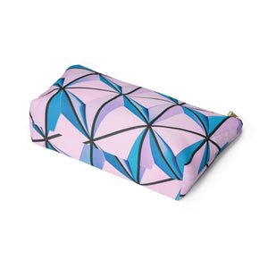 Makeup Bag Blue and Pink Triangles Abstract Art Large Bottom