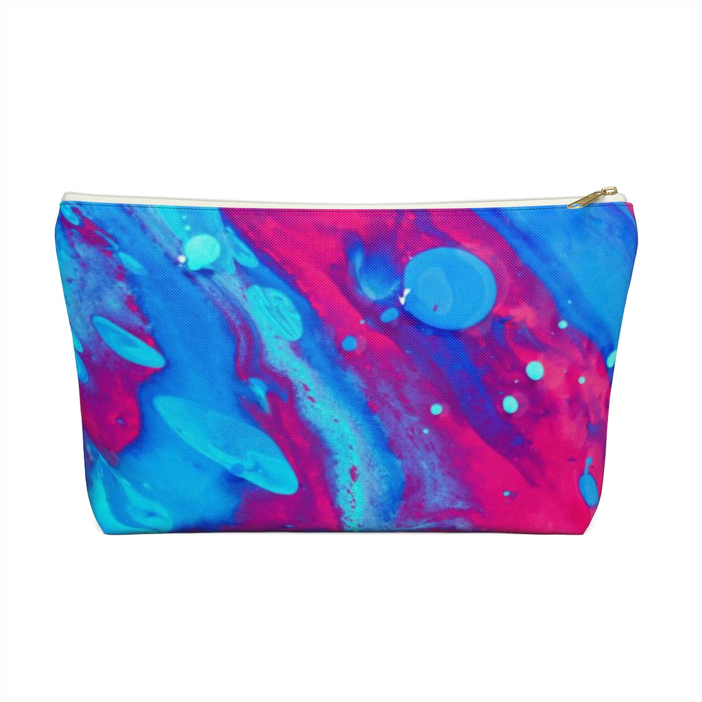 Makeup Bag Pink and Blue Abstract Painting Large Front
