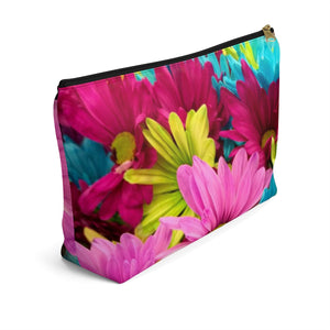 Makeup Bag Colorful Daisies Large Left Side