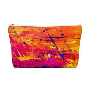 Makeup Bag Yellow, Red, and Blue Abstract Painting Large Back