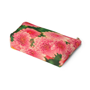 Makeup Bag Orange Flowers Large Bottom