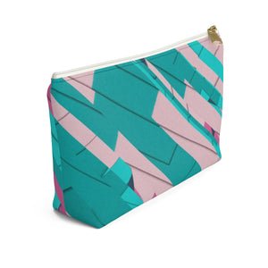 Makeup Bag Teal, Pink, and Hot Pink Small Left Side