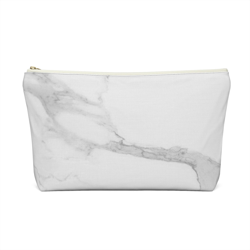 Makeup Bag Gray Marble Large Back