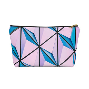 Makeup Bag Blue and Pink Triangles Abstract Art Small Front