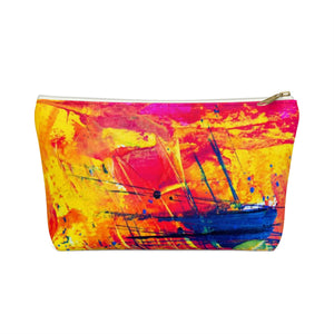 Makeup Bag Yellow, Red, and Blue Abstract Painting Small Front