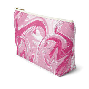 Makeup Bag Pink Marble Large Right Side
